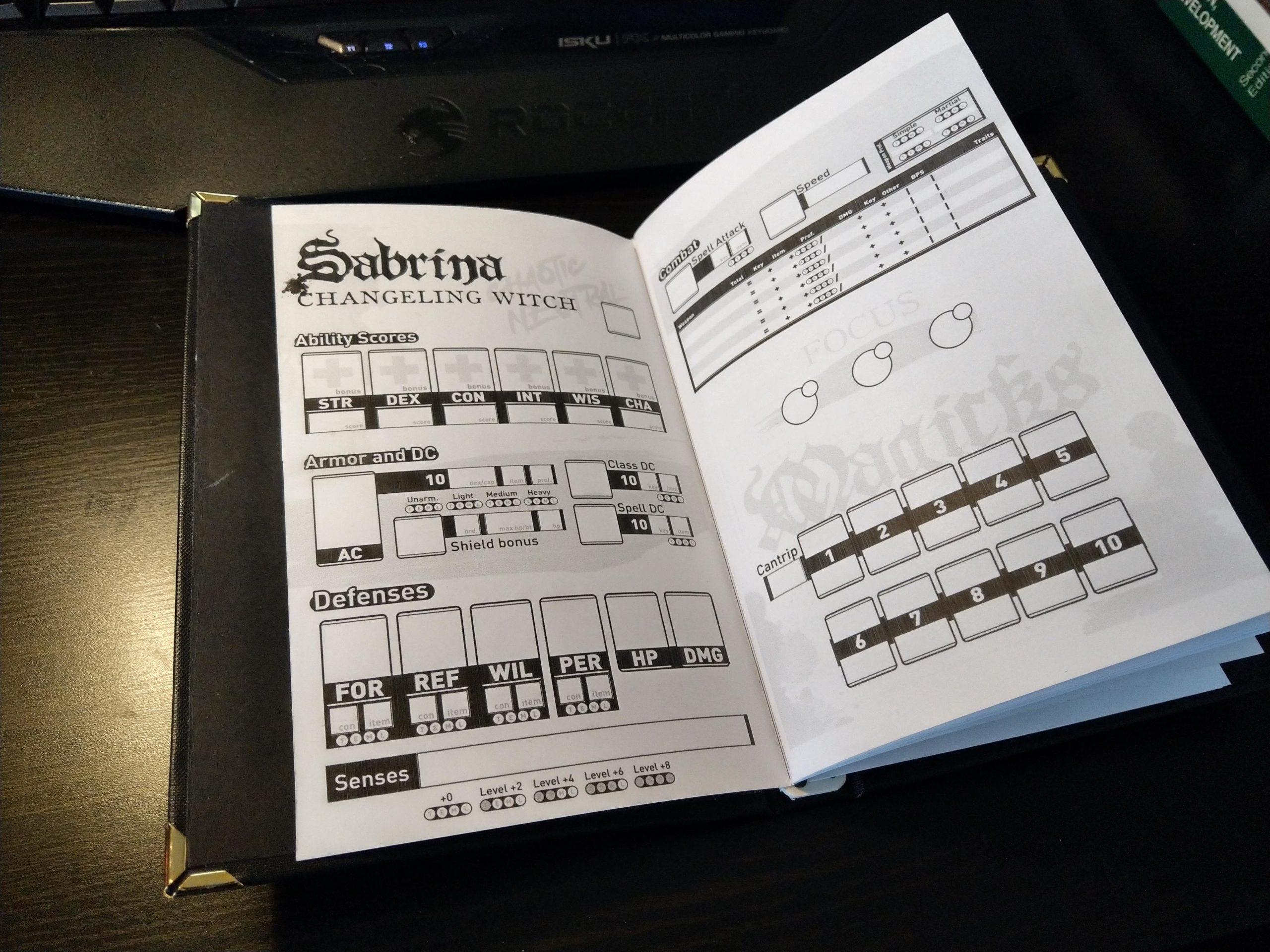 Pathfinder character binder